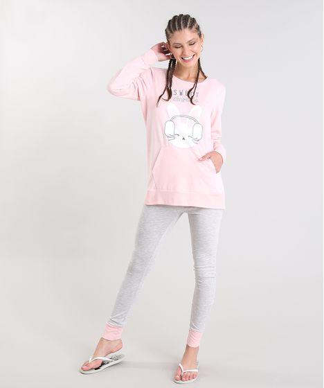 fb84e9975 Pijama de Inverno Feminino com Estampa de Coelho Manga Longa Rosa ...