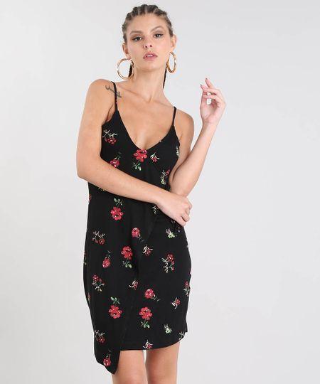 544ab5d25 Vestido Feminino Curto Transpassado Estampado Floral Alça Fina Preto - cea