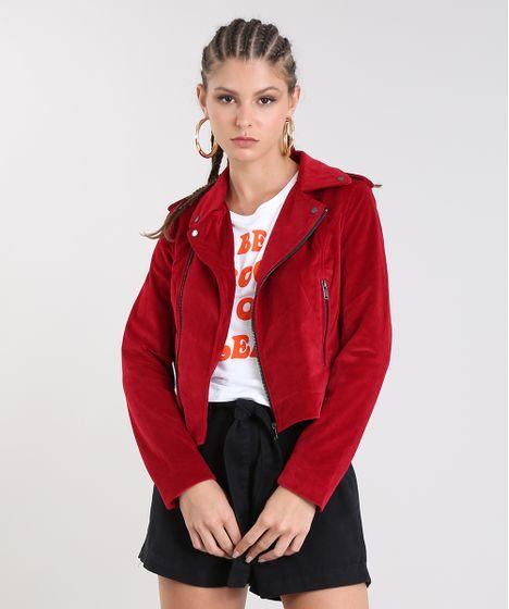 fbf643110 Jaqueta-Feminina-Biker-em-Veludo-Vermelha-9366444-Vermelho_1 ...