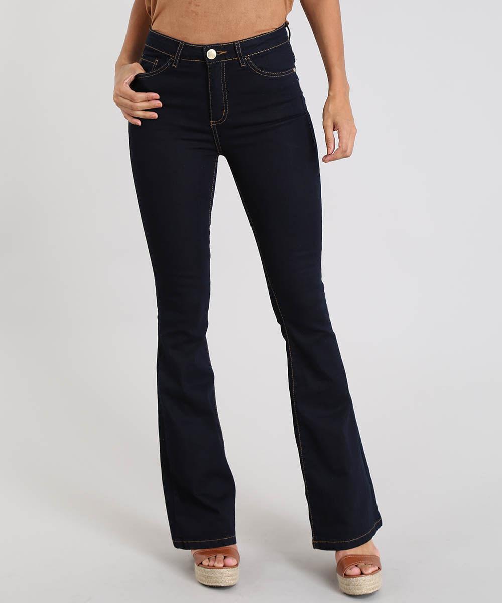 2312643f5 Calça Jeans Feminina Flare Cintura Alta com Pesponto Azul Escuro - cea