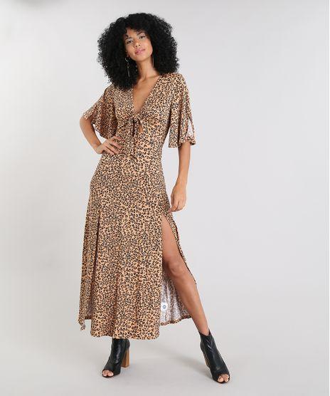 e393bf27d7 Vestido-Feminino-Longo-Estampado-Animal-Print-com-Amarracao-