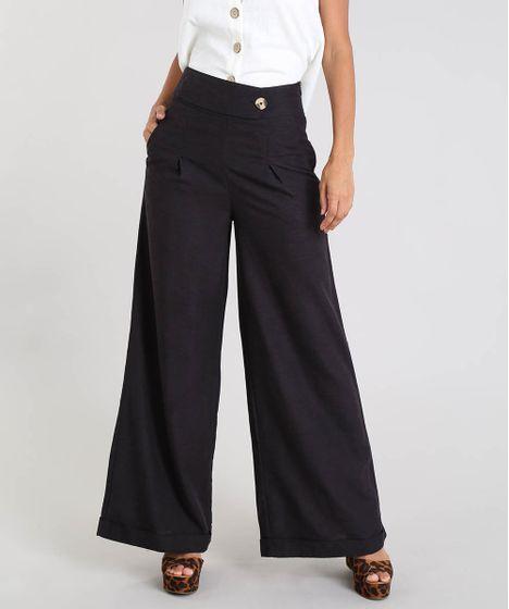 377e873e4b Calça Feminina Pantalona com Linho e Botão Preta - cea