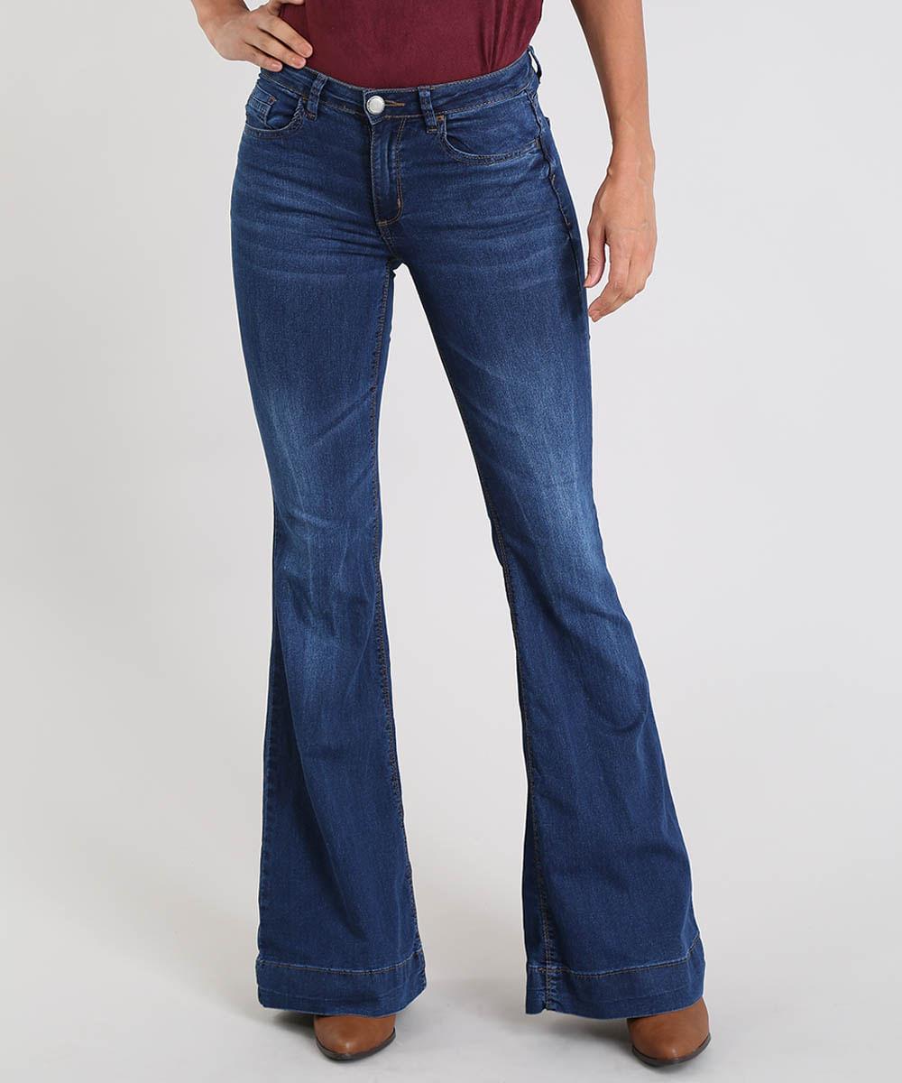 b0865ade6 Calça Jeans Feminina Super Flare Cintura Alta Azul Médio - cea
