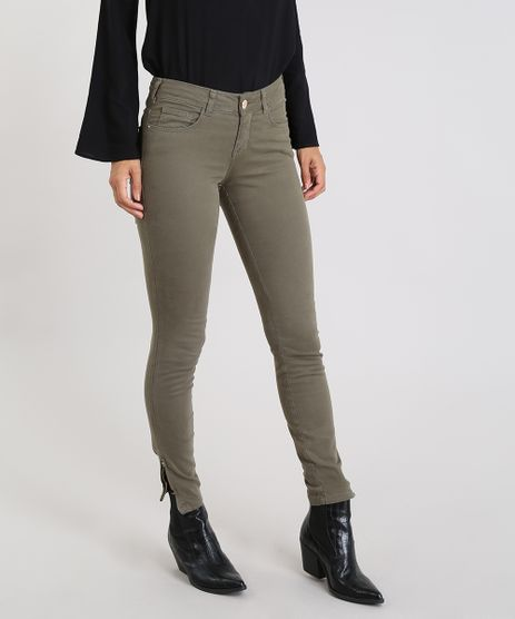 Calca-Feminina-Super-Skinny-em-Sarja-Verde-Militar-9562885-Verde_Militar_1