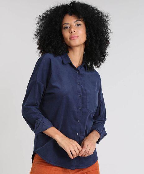 Camisa-Feminina-em-Veludo-Cotele-com-Bolso-Manga-Longa-Azul-Marinho-9437281-Azul_Marinho_1