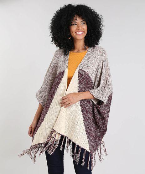 Kimono-Feminino-Estampado-Geometrico-em-Trico-com-Franjas-Manga-3-4-Bege-Claro-9377914-Bege_Claro_1