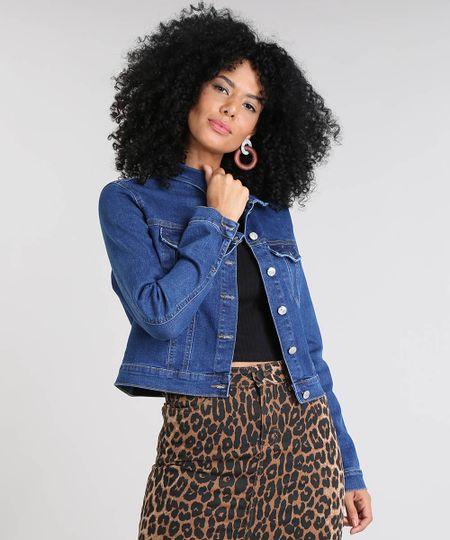 04db49169 Jaqueta Jeans Feminina Cropped com Bolsos Azul Escuro   Menor preço ...