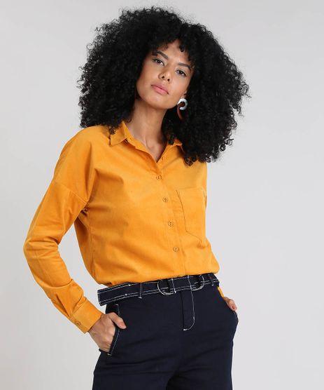 Camisa-Feminina-em-Veludo-Cotele-com-Bolso-Manga-Longa-Mostarda-9437281-Mostarda_1