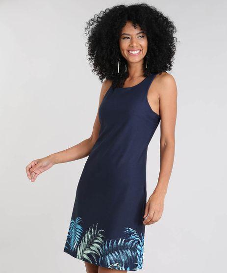 Vestido-Feminino-Curto-com-Estampa-de-Folhagem-Sem-Manga-Azul-Marinho-9504679-Azul_Marinho_1