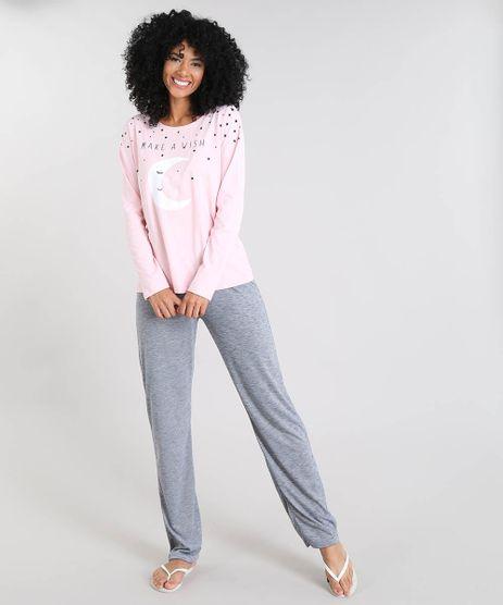 Pijama-Feminino-com-Estampa--Make-a-Wish--Manga-Longa-Rosa-Claro-9514760-Rosa_Claro_1