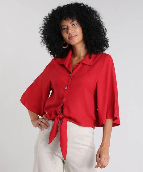 Camisa-Feminina-Ampla-com-Linho-e-Amarracao-Manga-Curta-Vermelha-9502828-Vermelho_1