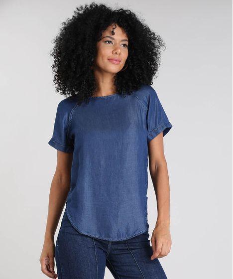 8b57dd7fa2e45 Blusa Jeans Feminina Manga Curta Decote Redondo Azul Escuro - cea