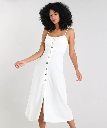 a6f039dc04 Vestido Feminino Risca de Giz Em Linho com Ilhós Off White