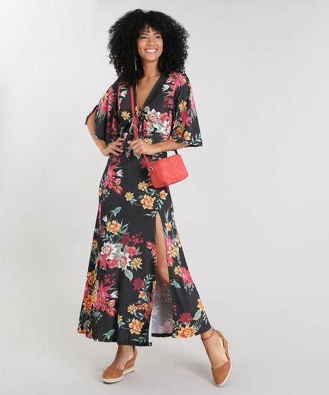 Vestido-Feminino-Longo-Estampado-Floral-com-Amarracao-Manga-Curta-Preto-9518605-Preto_1