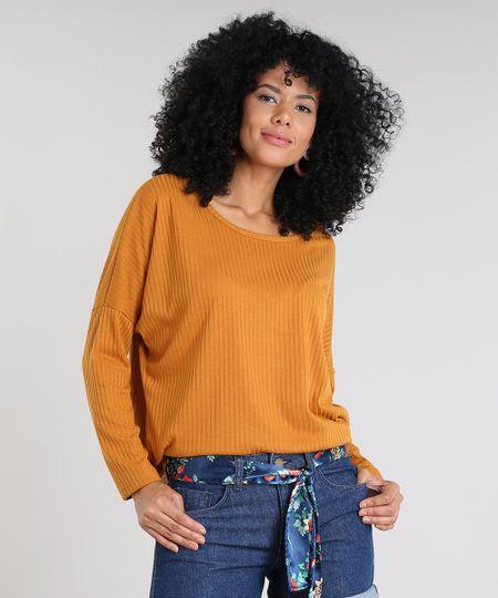 238dda329a Menor preço em Blusa Feminina Ampla Canelada Manga Longa Mostarda