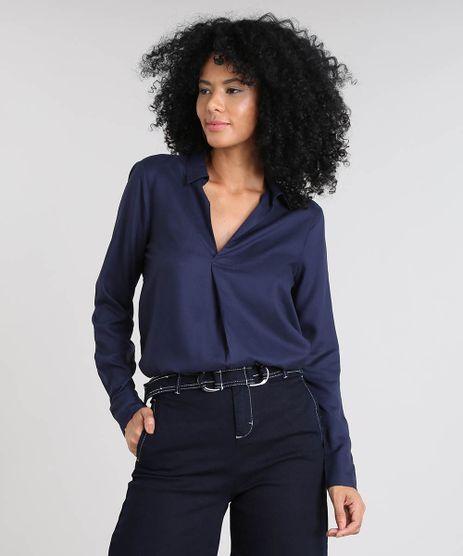 Camisa-Feminina-Manga-Longa-Decote-V-Azul-Marinho-9485698-Azul_Marinho_1