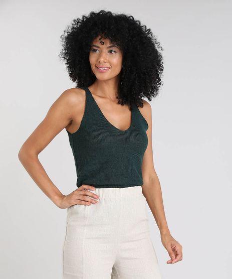 Regata-Feminina-em-Trico-com-Lurex-Decote-V-Verde-Escuro-9508456-Verde_Escuro_1