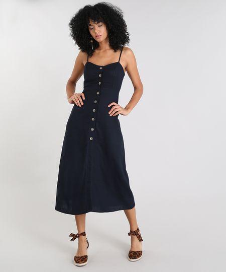30de517ac9 Menor preço em Vestido Feminino Midi com Linho e Fenda Alça Fina Azul  Marinho
