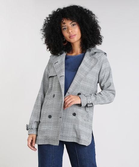 Casaco-Trench-Coat-Feminino-Estampado-Xadrez-com-Capuz-Preto-9356339-Preto_1