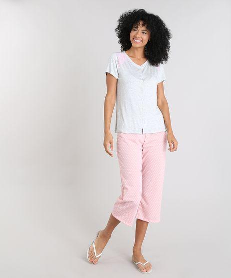 Pijama-Feminino-com-Estampa-de-Poa-e-Renda-Manga-Curta-Cinza-Mescla-9505370-Cinza_Mescla_1