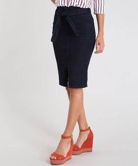 fea6a4e61 Saia-Lapis-Jeans-Feminina-Clochard-com-Fenda-Azul-