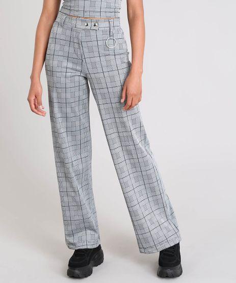 Calca-Feminina-Pantalona-Estampada-Xadrez-com-Argola-Cinza-Mescla-9520908-Cinza_Mescla_1