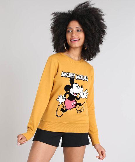 Blusao-Feminino-Mickey-Mouse-em-Moletom-Decote-Redondo--Mostarda-9519908-Mostarda_1