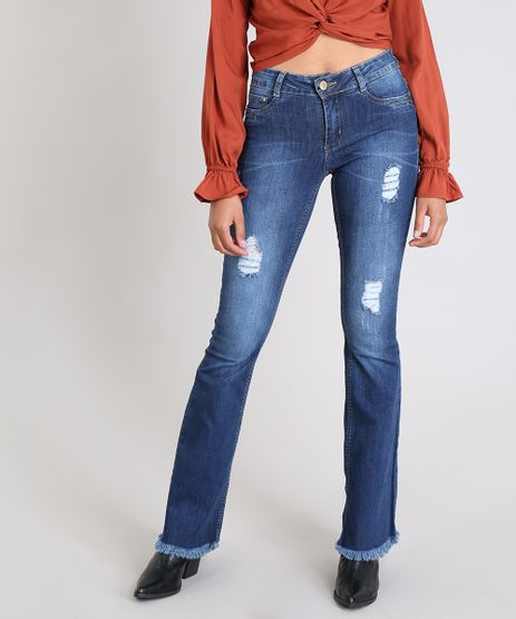 Calca-Jeans-Feminina-Sawary-Flare-com-Rasgos-Azul-Escuro-9543134-Azul_Escuro_1