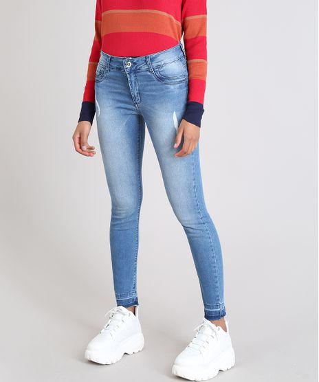 Calca-Jeans-Feminina-Sawary-Cigarrete-com-Puidos-Azul-Medio-9543131-Azul_Medio_1