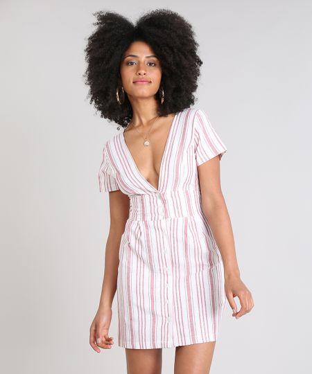 77df519547 Menor preço em Vestido Feminino Curto Listrado Manga Curta Off White