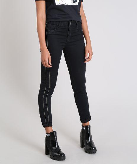 Calca-Jeans-Feminina-Sawary-Cigarrete-com-Brilho-lateral-Preta-9509353-Preto_1