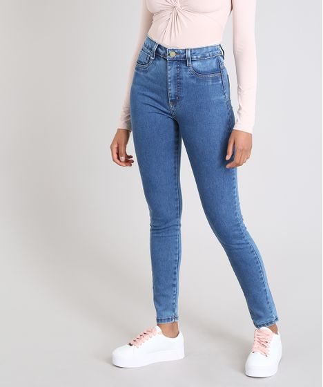 0fd0a465c Calça Jeans Feminina Sawary Super Lipo Super Skinny Azul Médio - cea
