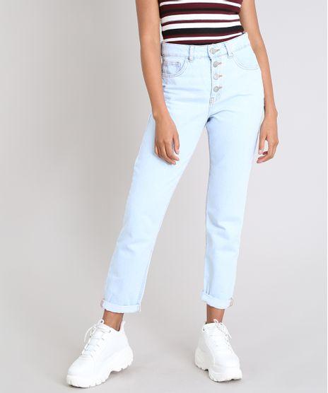 48ab8596a Calca-Jeans-Feminina-Mom-com-Botoes-Azul-Claro-