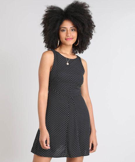 Vestido-Feminino-Curto-Evase-Estampado-de-Poa-Sem-Manga-Preto-9490073-Preto_1