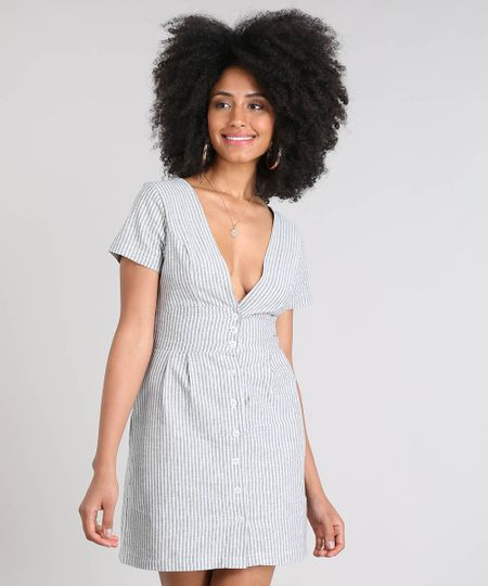 e34e7b14f Vestido Feminino Curto Listrado Manga Curta Azul | Menor preço com cupom