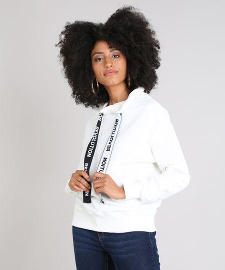 11d161a193 Menor preço em Blusão Feminino em Moletom com Capuz e Cordão Estampado Off  White