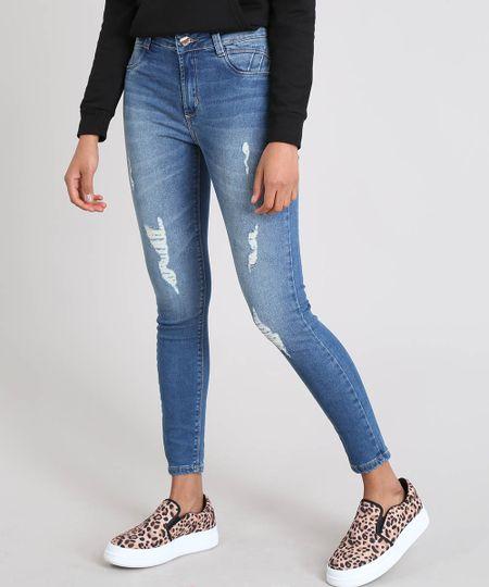 9f69ca746 Menor preço em Calça Jeans Feminina Sawary Cigarrete com Rasgos Azul Médio