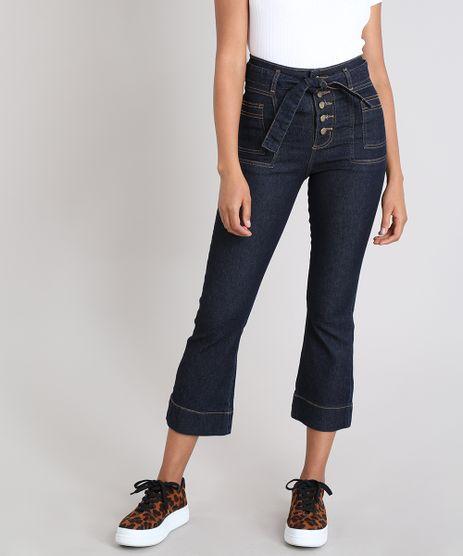 Calca-Jeans-Feminina-Sawary-Pantacourt-com-Faixa-para-Amarrar-Azul-Escuro-9543140-Azul_Escuro_1