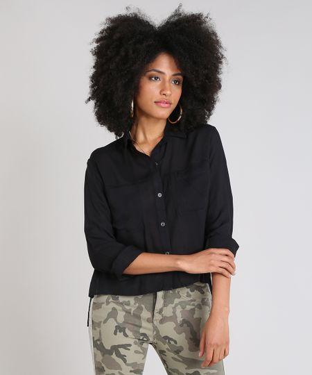 a47ea7266 Menor preço em Camisa Feminina Mullet com Bolsos Manga Longa Preta