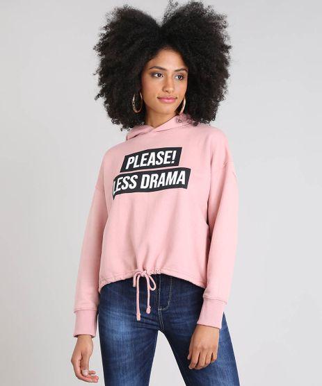 Blusao-Feminino--Please--Less-Drama--com-Capuz-em-Moletom-Rose-9523974-Rose_1