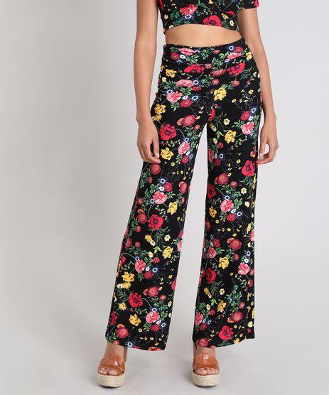 Calca-Feminina-Pantalona-Estampada-Floral-Cos-Largo--Preta-9503270-Preto_1