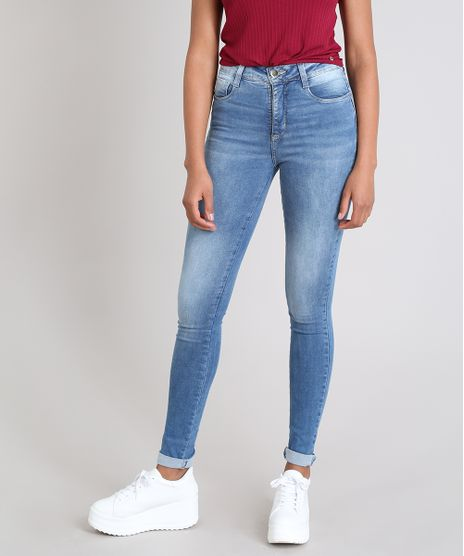 2d1dd68e2 Calca-Jeans-Feminina-Sawary-Compressora-Super-Skinny--Azul