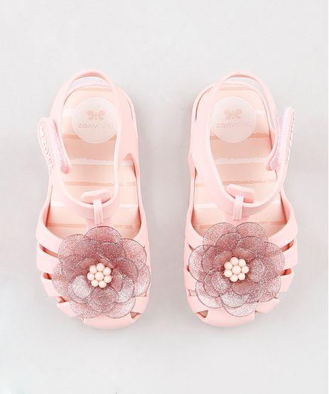 b7f6b4fe14 Sandalia-Infantil-Zaxy-Nina-com-Flor-e-Glitter-