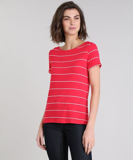 a289ead41 Menor preço em Blusa Feminina Básica Listrada Manga Curta Decote Redondo  Vermelha