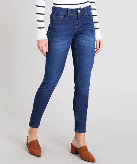 Calca-Jeans-Feminina-Super-Skinny-com-Ziper-na-Barra-Azul-Escuro-7936010-Azul_Escuro_1