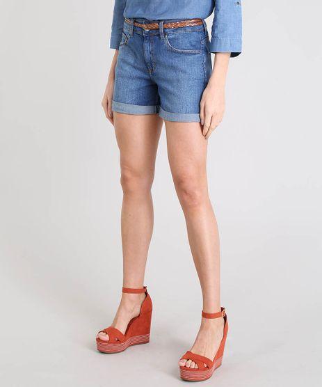 Short-Jeans-Feminino-Midi-com-Cinto-Trancado-Azul-Escuro-9140638-Azul_Escuro_1