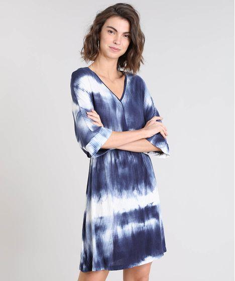 1f72e674d Vestido Feminino Curto Estampado Tie Dye Manga Curta Azul Marinho - cea