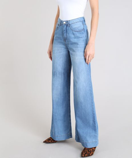 Calca-Jeans-Feminina-Pantalona-Cintura-Alta-Azul-Claro-9536757-Azul_Claro_1