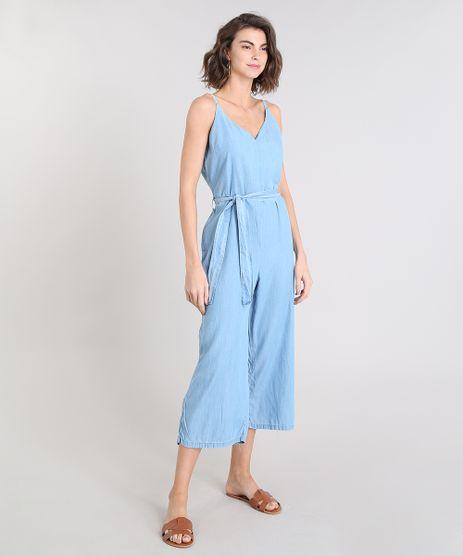 Macacao-Jeans-Feminino-Pantacourt-com-Faixa-para-Amarrar-Alca-Fina-Azul-Claro-9539069-Azul_Claro_1