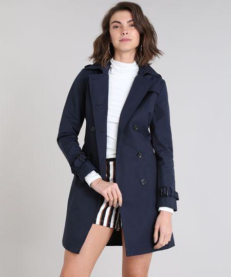 895179af5343b Menor preço em Casaco Trench Coat Feminino Transpassado com Bolsos Azul  Marinho